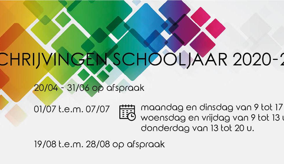 Inschrijvingen schooljaar 2020 – 2021